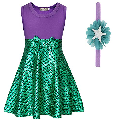 Toddler Biker Girl Halloween Costume (HenzWorld Mermaid Dresses Princess Costume Cosplay Role Pretend Birthday Party Tank Tops Fish Scale Mini Skirt Patchwork Outfits Headband Accessories Little Girls 4-5)
