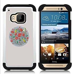 For HTC ONE M9 - flowers minimalist birds nature Dual Layer caso de Shell HUELGA Impacto pata de cabra con im??genes gr??ficas Steam - Funny Shop -