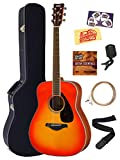 Yamaha FG820 Solid Top Folk Acoustic Guitar - Black Bundle with Hard Case, Tuner, Strings, Strap, Picks, Austin Bazaar Instructional DVD, and Polishing Cloth