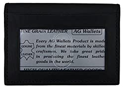 AG Wallets Leather Expandable Credit Card Outside ID Holder Wallet (Black)