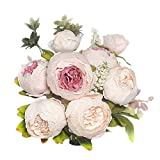 Shine-Co Artificial Peony Silk Flowers Bouquet Glorious Moral for Home Office Parties and Wedding (Light Pink)