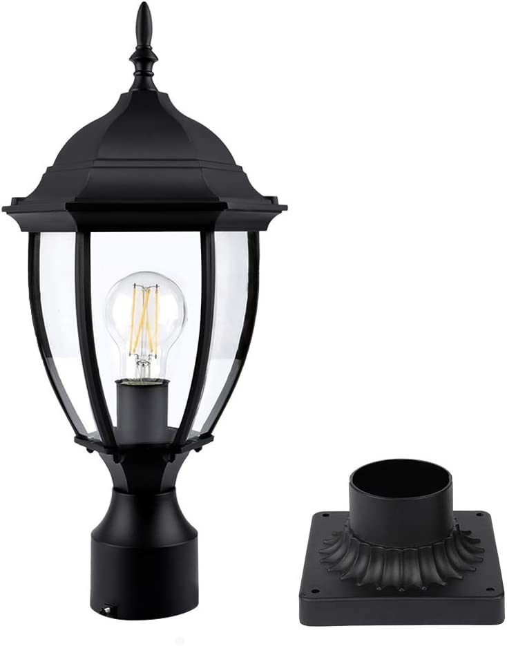 PARTPHONER Outdoor Post Light with Pier Mount Base, Waterproof Pole Lantern Light Fixture, Exterior Lamp Post Lantern Head with Clear Glass Panels for Yard, Garden, Patio, Pathway (8 Inch)