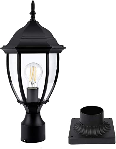 PARTPHONER Outdoor Post Light with Pier Mount Base, Waterproof Pole Lantern Light Fixture, Exterior Lamp Post Lantern Head with Clear Glass Panels for Garden, Patio, Pathway 8 Inch