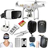 DJI Phantom 3 Professional Quadcopter Drone Bundle with Zeiss VR One Virtual Reality Headset & eDig Eye in the Sky Package (iPhone 6/6s)