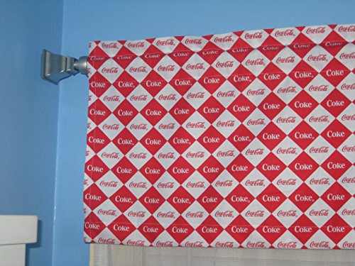 Handmade Coca Cola Square Diamond Red White Window Valance