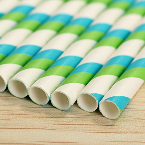 25pcs Colourful Striped Paper Drinking Straws for Wedding Birthday Party Decoration,(Blue-Green) (Tom And Jerry Centerpiece)