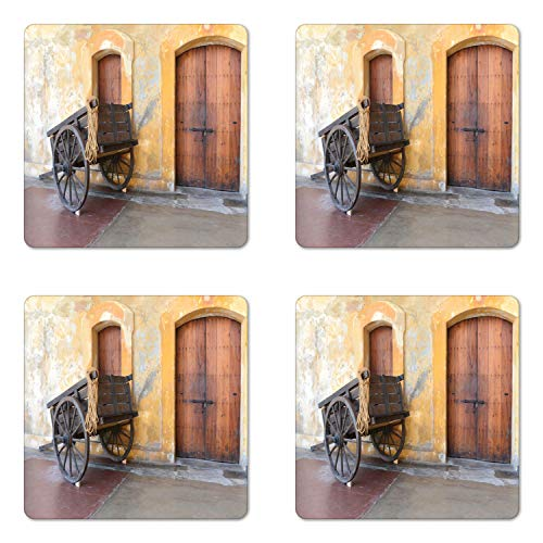 Lunarable Old Door Coaster Set of Four, Worn Out Wooden Cart in San Juan Puerto Rico Capital City Exploring Ancient Ruins, Square Hardboard Gloss Coasters for Drinks, Multicolor