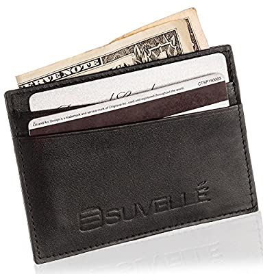 Suvelle Men Slim Genuine Leather Multi Credit Card Holder Minimalist Business Card Case Wallet Secure Thin Front Pocket Wallet For Travel and Work Stylish Gift For Men W033