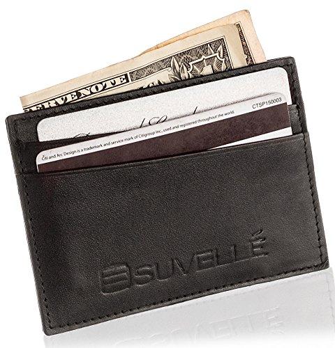 Suvelle Mens Slim Genuine Leather Front Pocket Wallet Minimalist Card Case...