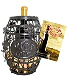 WINE BARREL CORK CAGE * WINE RACK * CORK STORAGE * HOSTESS GIFT * BAR DECOR * EXCLUSIVE Tip, Sip & Recycle Guide for Wine Enthusiasts - Brown Patena with Glass Bead Accents - Med & Sm By Stanton Collections™