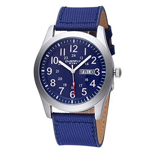 JIANGYUYAN Mens Unique Sport Quartz Watch Fashion Analog Wristwatch Classic Calendar canvas strap Waterproof watches