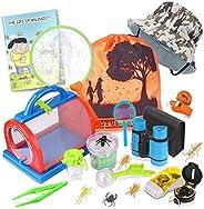 Outdoor Explorer Kit & Bug Catcher Kit with Binoculars, Flashlight, Compass, Magnifying Glass, Critter Cas
