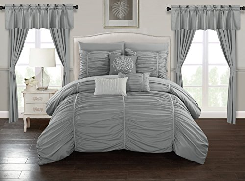 Chic Home Avila 20 Piece Comforter Set Ruffled Ruched Designer Bag Bedding-Sheets Window Treatments Decorative Pillows Shams Included, King, Grey