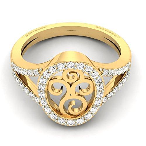 14K Or jaune 0,35CT TW Round-cut-diamond (IJ | SI) en diamant