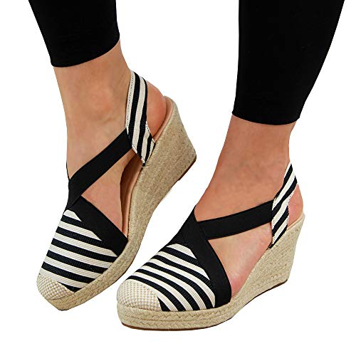Espadrilles for Women Low Wedge-Stripes Canvas Closed Toe Platform Summer Dress Sandals