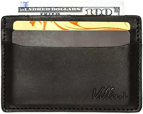 Villini Leather Slim Credit Card Holder - Front Pocket Wallet - Minimalist Card Case