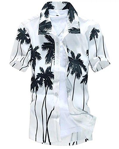 Men's Short Sleeves Hawaiian Coconut palm Floral Casual Beach Dress Shirt White, US S/36 = Tag - Palm U West Beach Fit