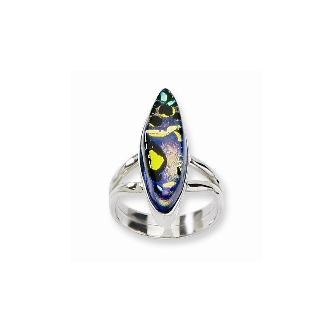 ICE CARATS 925 Sterling Silver Multicolor Dichroic Glass Oval Shaped Band Ring Size 7.00 Fine Jewelry Ideal Gifts For Women Gift Set From Heart