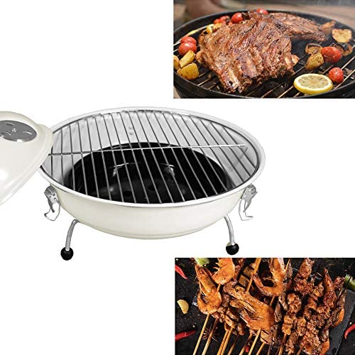 LDIW Barbecue à Charbon Rond, BBQ Mobile Barbecue Grill Portable pour Camping au Jardin, Blanc