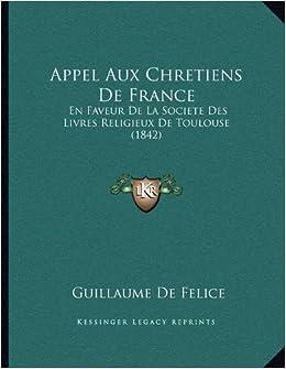 Appel Aux Chretiens De France En Faveur De La Societe Des