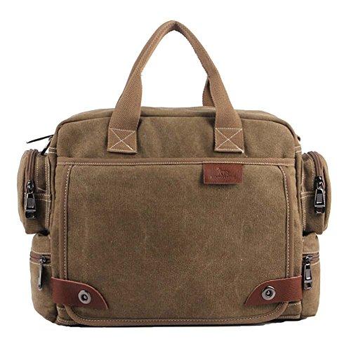 """Multifuncional Vintage de Lona Unisex Bolsa de mensajero hombro bolsa Casual escuela trabajo College Satchel bolsas de portátil de 14"""" caqui"""