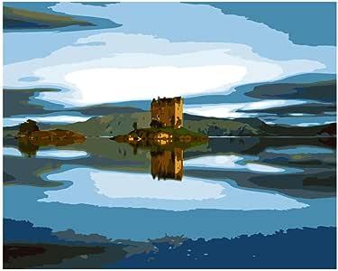 Pintura Digital DIY Gran Tamaño Espectacular Castillo De Agua Paisaje Acrílico Decoración De La Casa Imagen del Arte Regalo-40X50Cm-Sin Marco: Amazon.es: Juguetes y juegos