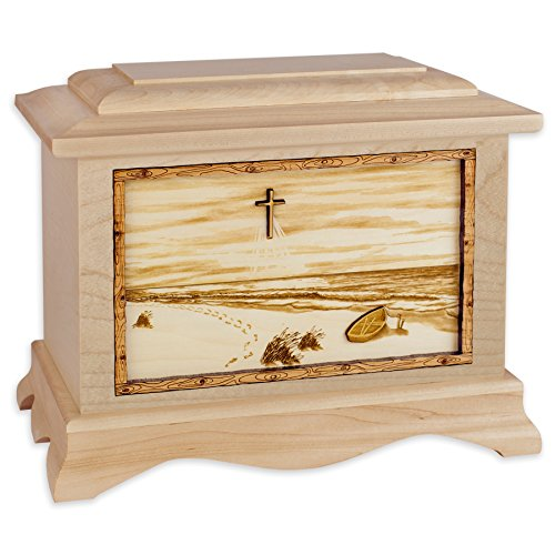 Wooden Cremation Urn - Ambassador Shape with Footprints in the Sand 3-Dimensional Inlay Wood Art Memorial - Funeral Urns for Adults with Christian Cross Beach Artwork (Solid Maple Wood) by Urns Northwest