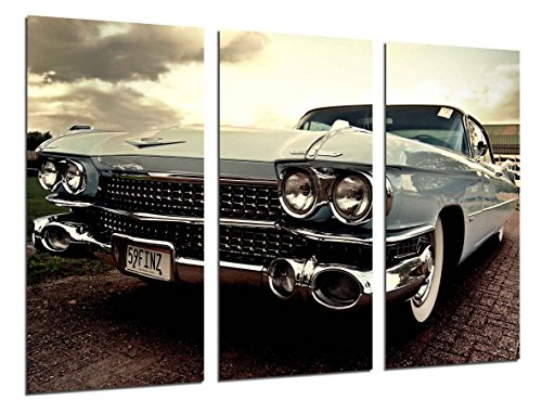 Cuadros Camara Multi Wood Printings Art Print Box Framed Picture Wall Hanging - (Total Size: 38 x 24.4 in), Old Cadillac Car, Vintage Cars - Framed and Ready to Hang - ref. 26443
