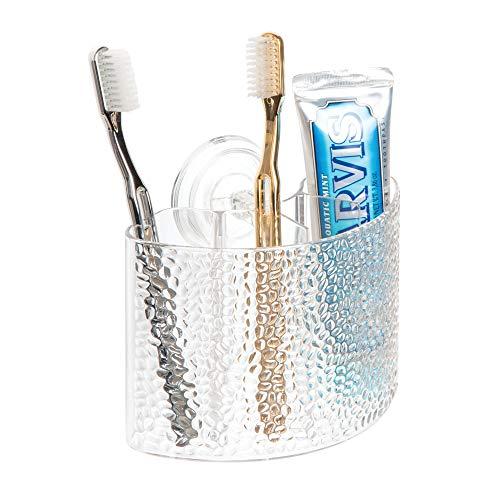 InterDesign Rain Power Lock Suction,  Toothbrush Holder for Bathroom Mirror, Shower -