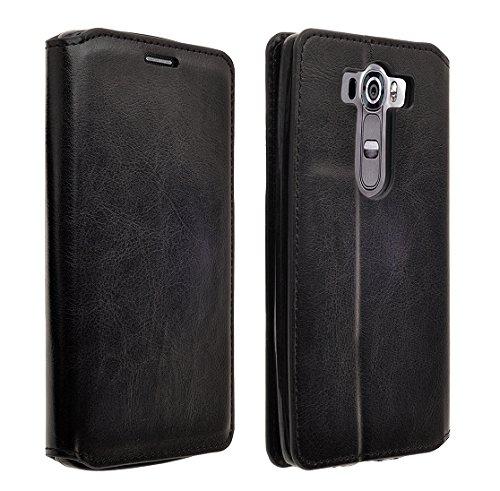 SumacLife Vegan Leather, Self Stand Wallet Case for LG G Vista 2 - Retail Packaging - Black (Vista Case G Lg Color)