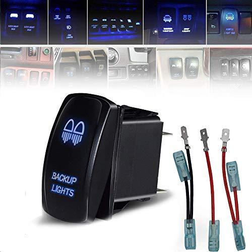 T-Former Universal Laser 5 Pin Rocker Switch Backlit LED BACKUP LIGHTS + Jumper Wires for Car Truck Boat ATV UTV 12V 20A Bright Light Powersports - Backup Switch Light