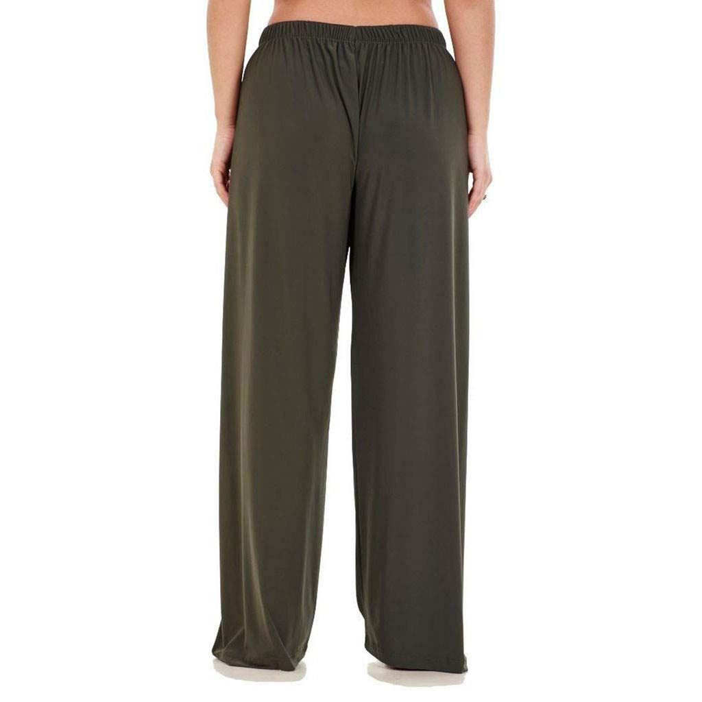 WUAI-Women Casual Home Wear Elastic Waist Loose Fit Comfy Straight Pants