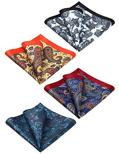 HISDERN 4 Pcs Mens Silk Paisley Floral Printed Pocket Square Handkerchief Hanky Set Wedding Party Gift