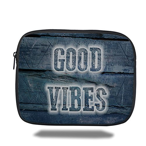 Laptop Sleeve Case,Good Vibes,Inspiration Quote on Wooden Planks with Grunge Scratched Display Relaxation Decorative,Dark Blue White,iPad Bag by iPrint