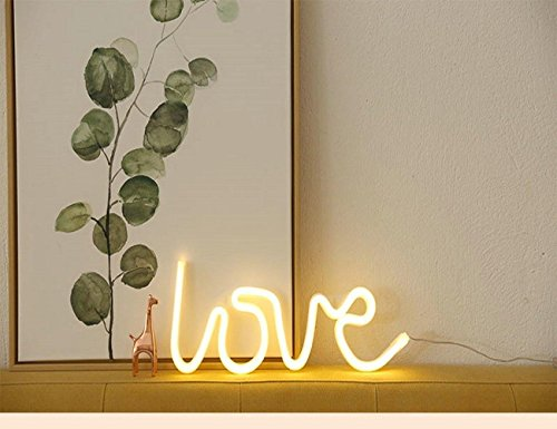 Neon Signs Love Warm White,USB Powered Neon Light,LED Lights Table Decoration,Girls Bedroom Wall Décor,Kids Birthday Gift,Wedding Party Supplies Neon Sign by JYWJ