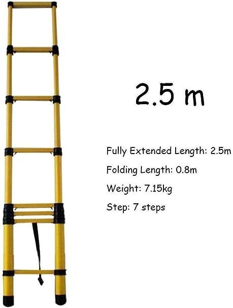 lHishop Las Mejores Escaleras Telescópicas Escaleras Extensibles con Ganchos Escalera Loft Plegable Telescópica Mantenimiento De Edificios Multiusos,2.5m: Amazon.es: Hogar