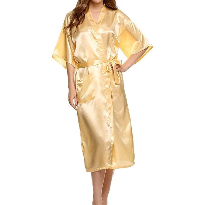 Kimono Señoras Seda Satén Boda Larga Dama Honor De Novia Bata Kimono Chic Ropa Bata Bata Pijama: Amazon.es: Ropa y accesorios