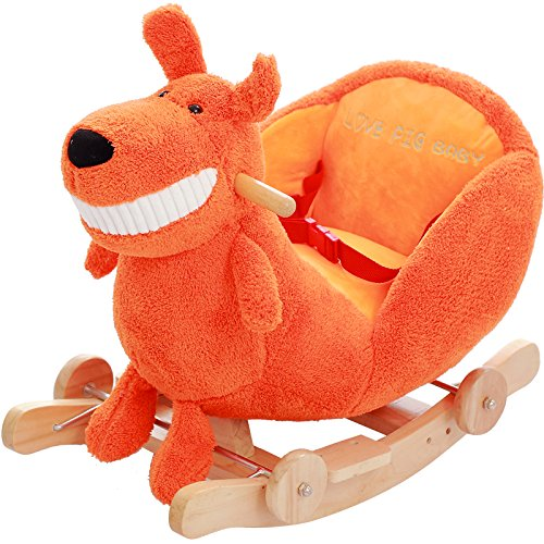 (QXMEI Baby Child Rocking Horse Wooden 2 In 1 Dual Use Plush Rocking Horse With Wheels For1-4Years Boys And Girls Kid Rocking Horse Rocker Seat Music Puzzle)