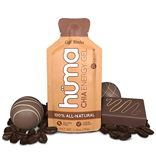 Huma Chia Energy Gel, Café Mocha, 12 Gels, 2x Caffeine - Premier Sports Nutrition for Endurance Exercise