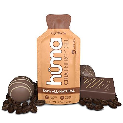 Huma Chia Energy Gel, Café Mocha, 12 Gels, 2x Caffeine - Premier Sports Nutrition for Endurance Exercise