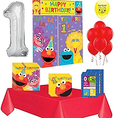 Amazon Elmo Party Supplies For 1st Birthday Pack 18 Guests Toys Games