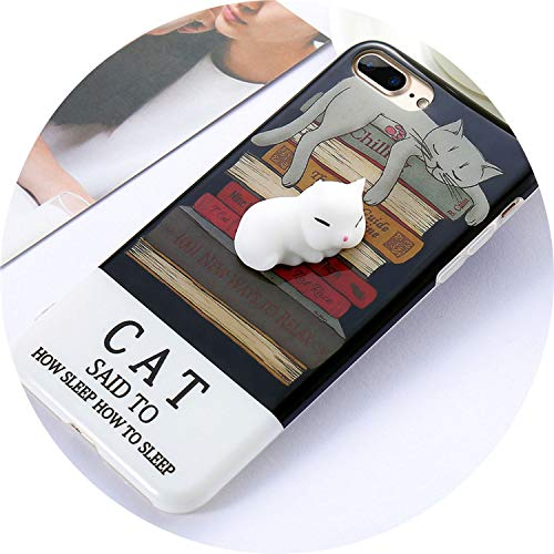 HANBINGPO Lovely Case for iPhone 6 6s 7 Plus 8 Plus X Cartoon Kneading Phone Case for iPhone X 7 8 10 Back Cover Funda Capinha Bag,Sleeping Cat,for iPhone X