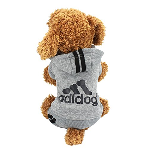 Idepet(TM) Adidog Pet Dog Cat Clothes 4 Legs Cotton Puppy Hoodies Coat Sweater Costumes Dog Jacket (XS, Gray)