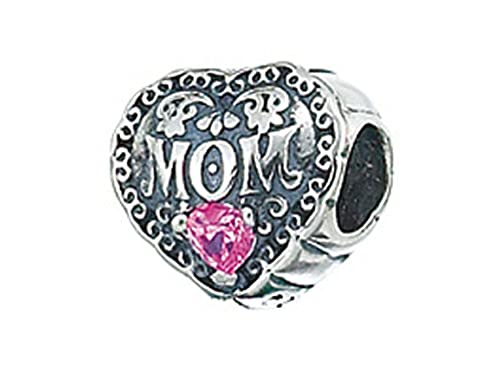 Zable Sterling Silver Mom with Crystals Bead Charm