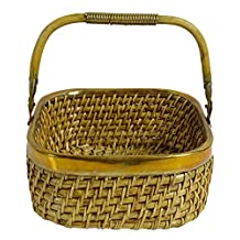Square Metal Fencing With Handle Willow Basket Decorative Wooden Wicker Baskets