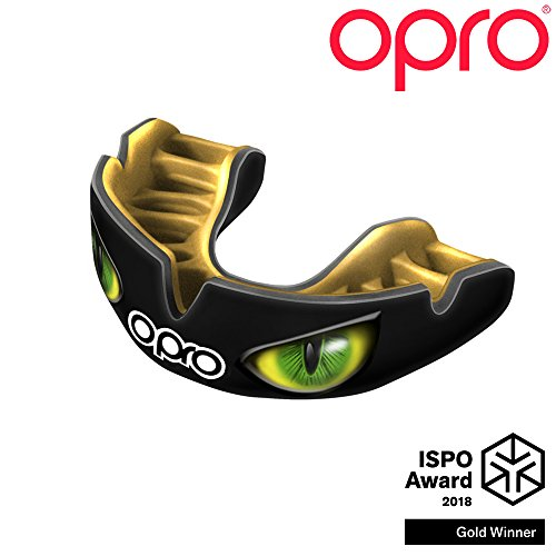 OPRO Power-Fit Mouthguard | Adult Handmade Gum Shield for Football, Rugby, Hockey, Wrestling, and Other Combat and Contact Sports - 18 Month Dental Warranty (Ages 10+) (Black/Green Eyes) - Mouth Guard Designs