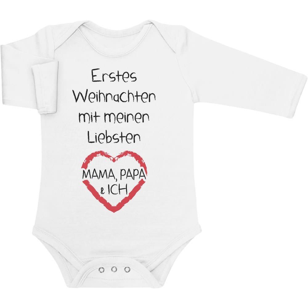 Mama Papa /& Ich Baby Langarm Body Shirtgeil Erstes Weihnachten mit Meinen Liebsten