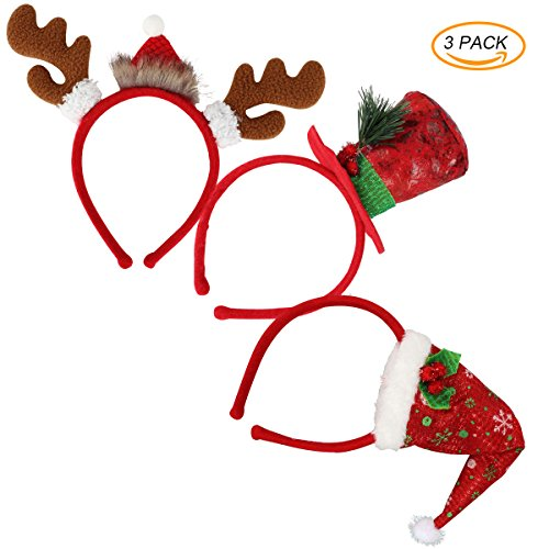 (LeeSky 3PCS Christmas Santa Headbands Reindeer Antlers Christmas Head Bands Hair Hoop for Christmas Holiday New Years Decoration)