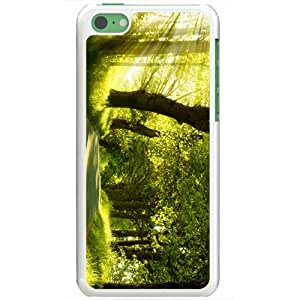 Apple iPhone 5C Cases Customized Gifts Of Photography green nature dual monitor Dual Monitor White
