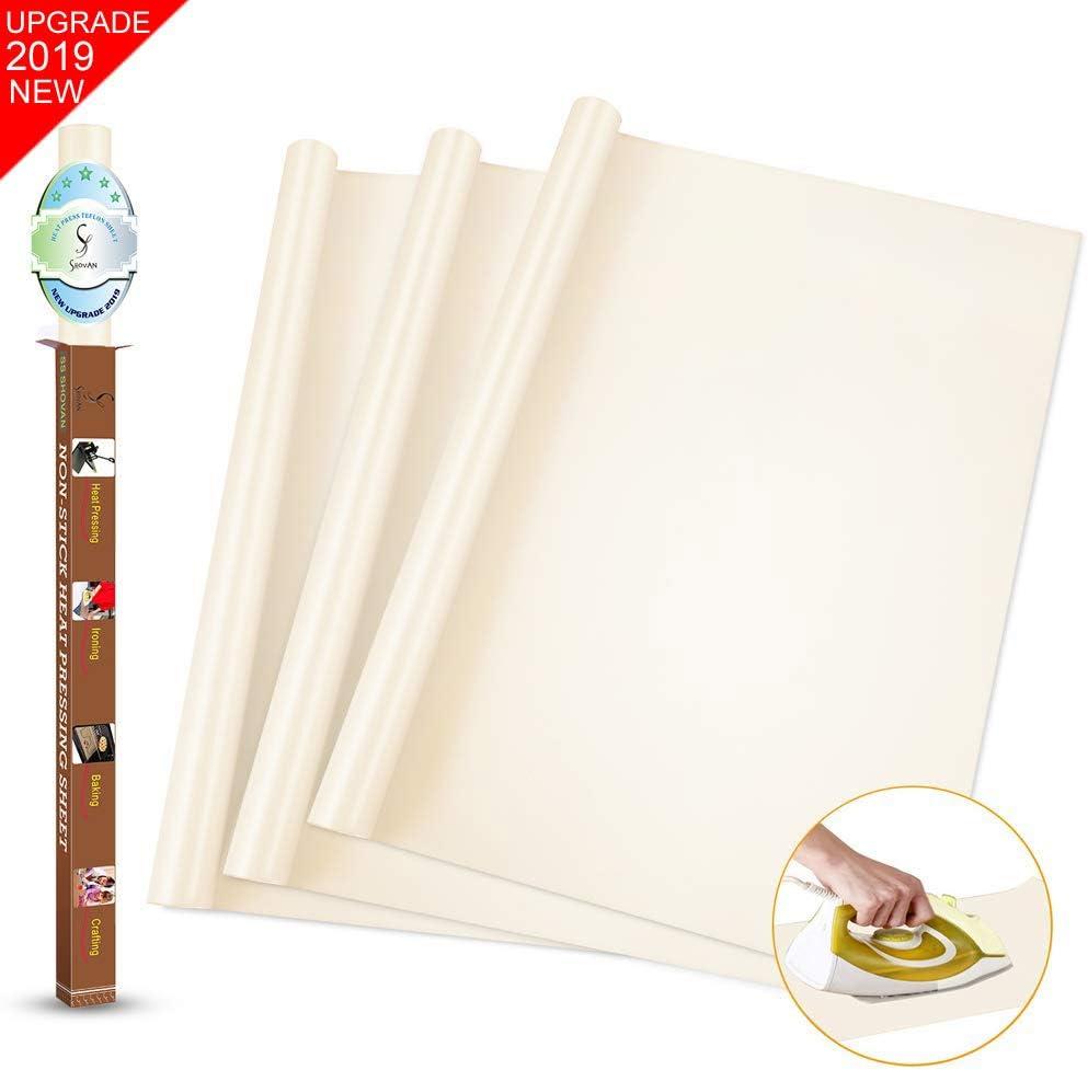 SS SHOVAN 2 Pack PTFE Teflon Sheet for Heat Press Transfer Sheet 16 x 20 Non Stick Heat Transfer Paper Resistant Washable Reusable Baking Sheet Craft Mat